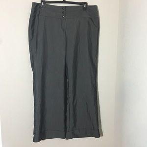 Ashley Stewart Metallic Gray Wide Leg Dress Pants